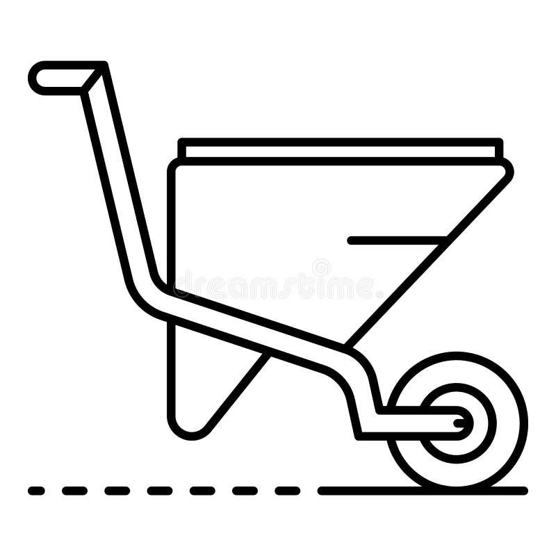 Ícone do carrinho de mão do jardim, estilo do esboço ilustração do vetor