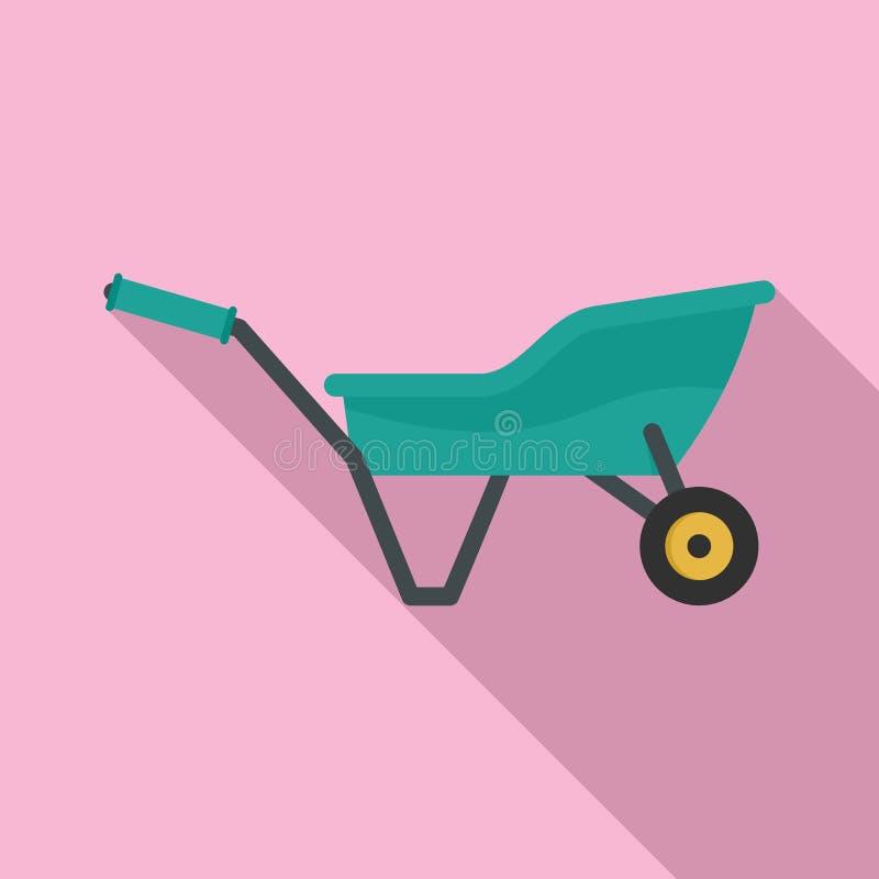 Ícone do carrinho de mão do jardim, estilo liso ilustração stock
