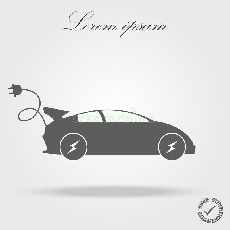 Ícone do carro bonde Ilustração do vetor sinal do E-carro ilustração stock