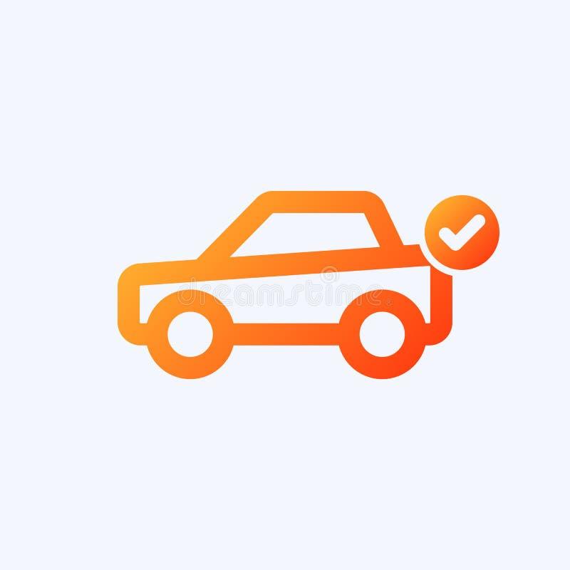 Ícone do carro com sinal da verificação O ícone do carro e aprovado, confirma, feito, tiquetaque, símbolo terminado ilustração royalty free