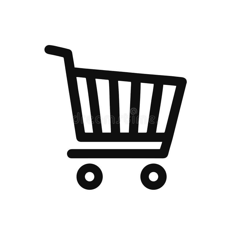 """Ícone do carro da loja, símbolo da compra € do ícone do cesto de compras """"para o estoque ilustração stock"""