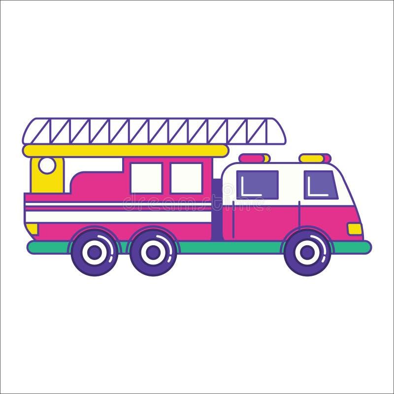 Ícone do carro de bombeiros na linha estilo lisa na moda Luta contra o incêndio brilhante v ilustração do vetor