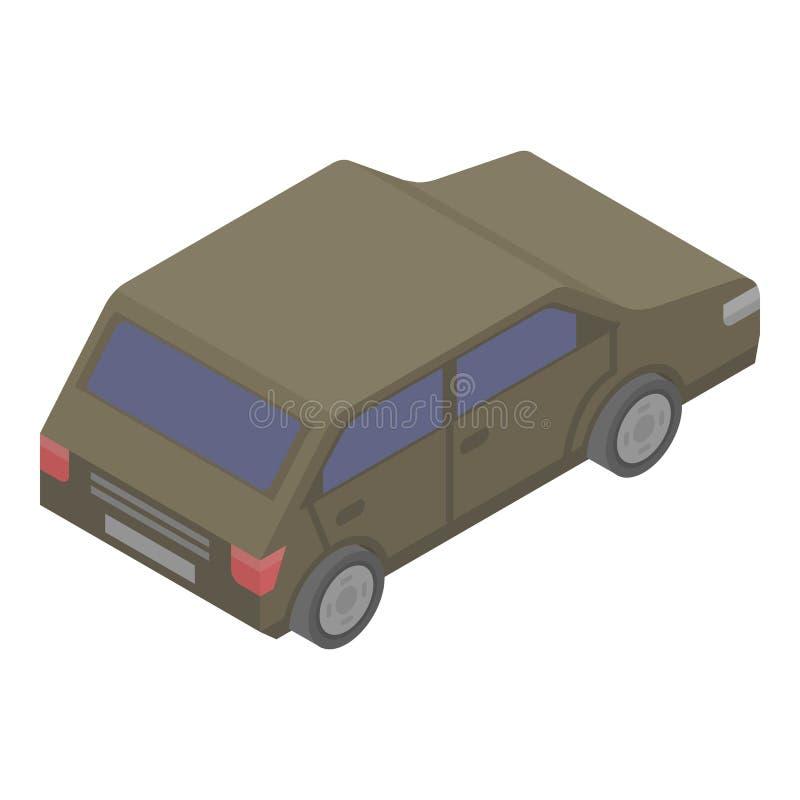 Ícone do carro de Brown, estilo isométrico ilustração royalty free