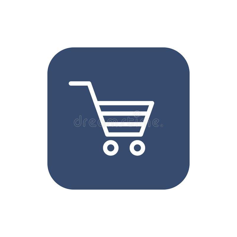 Ícone do carro de compra Projeto liso ilustração stock