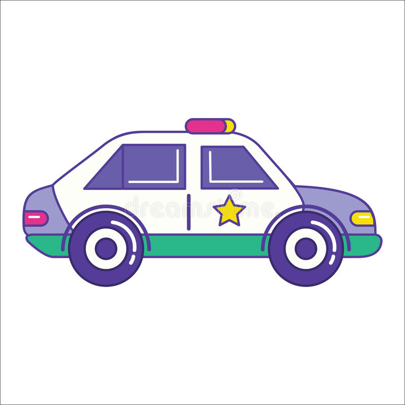Ícone do carro de polícia na linha estilo lisa na moda Símbolo do veículo da patrulha ilustração stock
