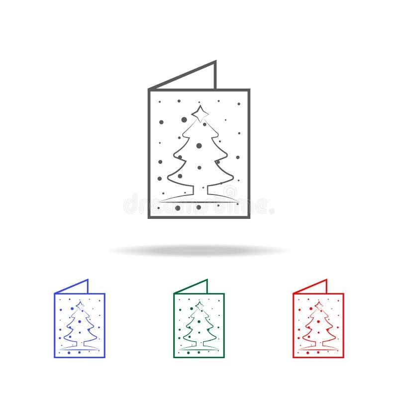 Ícone do cartão do ano novo Elementos em multi ícones coloridos para apps móveis do conceito e da Web Ícones para o projeto do We ilustração do vetor