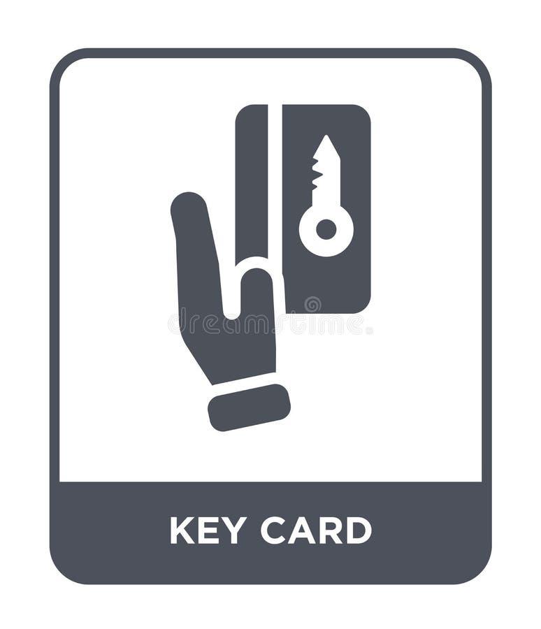 ícone do cartão chave no estilo na moda do projeto ícone do cartão chave isolado no fundo branco plano simples e moderno do ícone ilustração stock