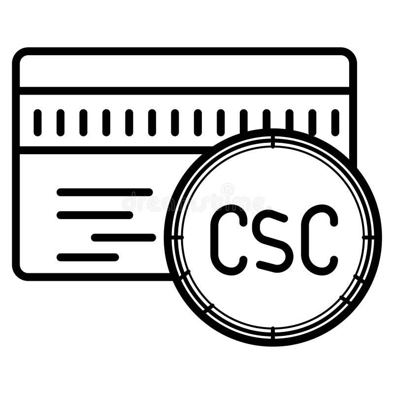Ícone do cartão de crédito do código de segurança do cartão de CSC ilustração royalty free