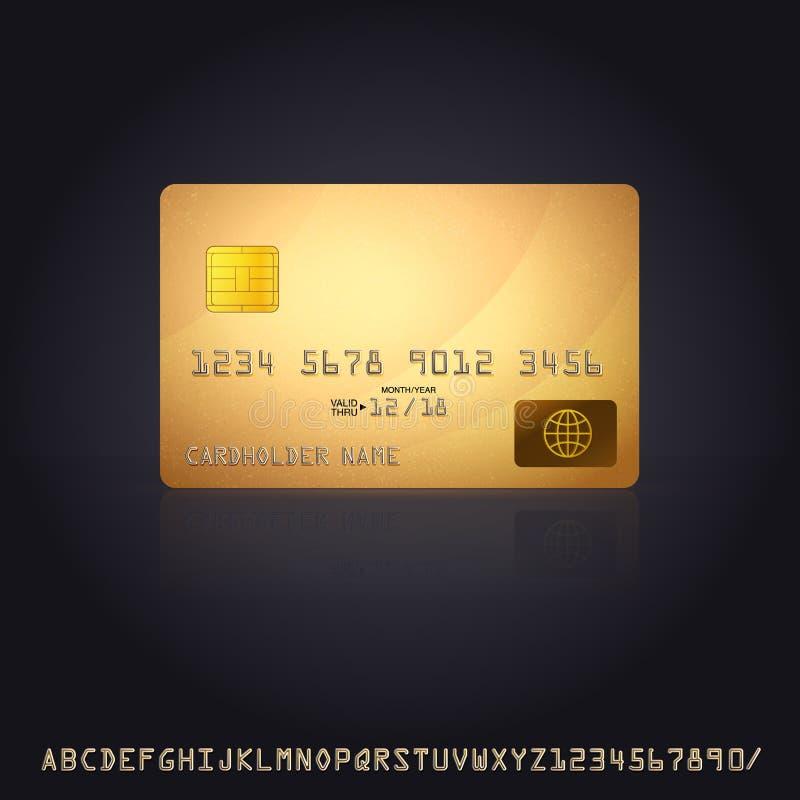 Ícone do cartão de crédito do ouro ilustração do vetor