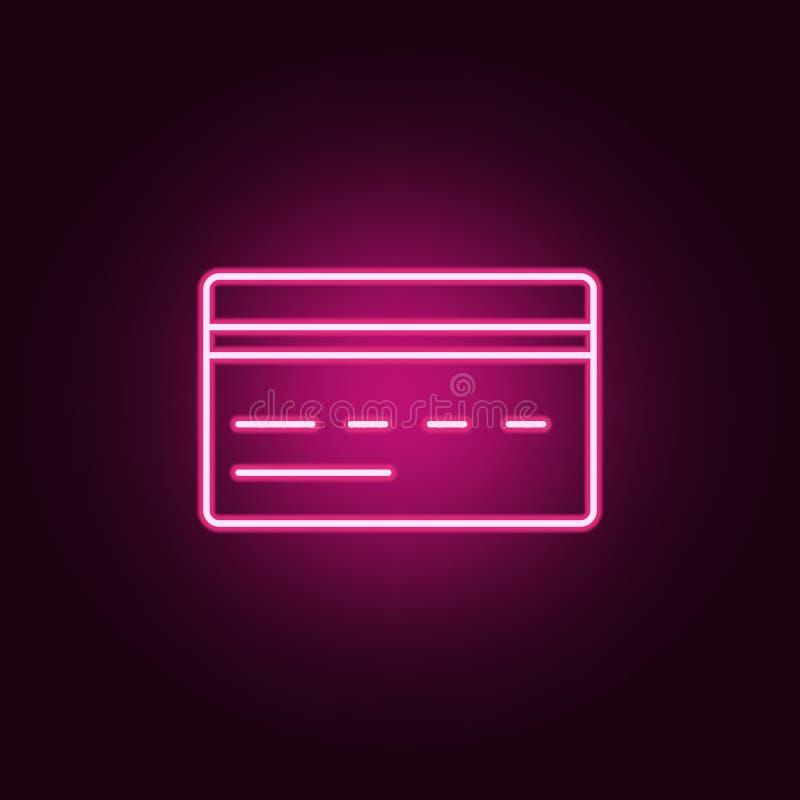 Ícone do cartão de crédito Elementos da Web nos ícones de néon do estilo Ícone simples para Web site, design web, app móvel, gráf ilustração royalty free