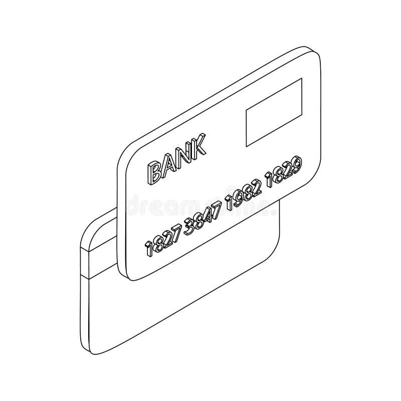 Ícone do cartão de crédito, estilo 3d isométrico ilustração stock