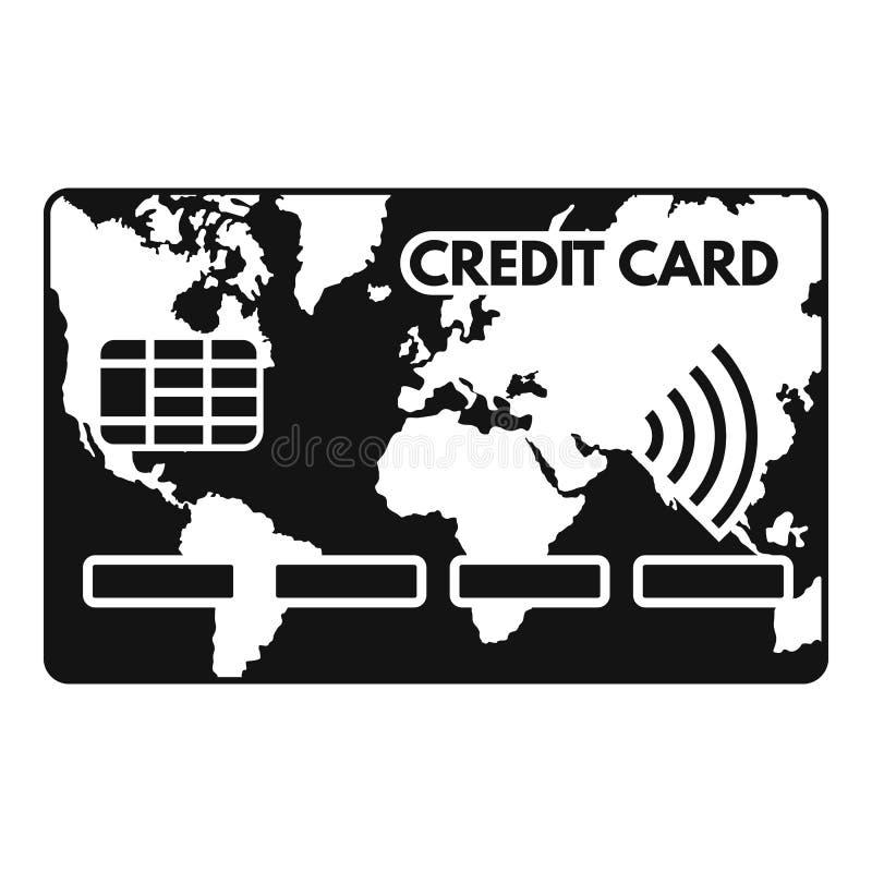 Ícone do cartão de crédito de Nfc, estilo simples ilustração stock