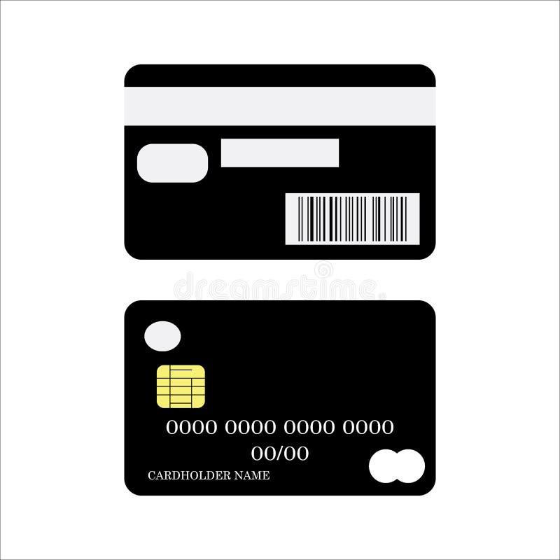 Ícone do cartão de crédito Vetor eps10 da parte traseira de cartão do crédito bancário e da parte anterior ilustração stock