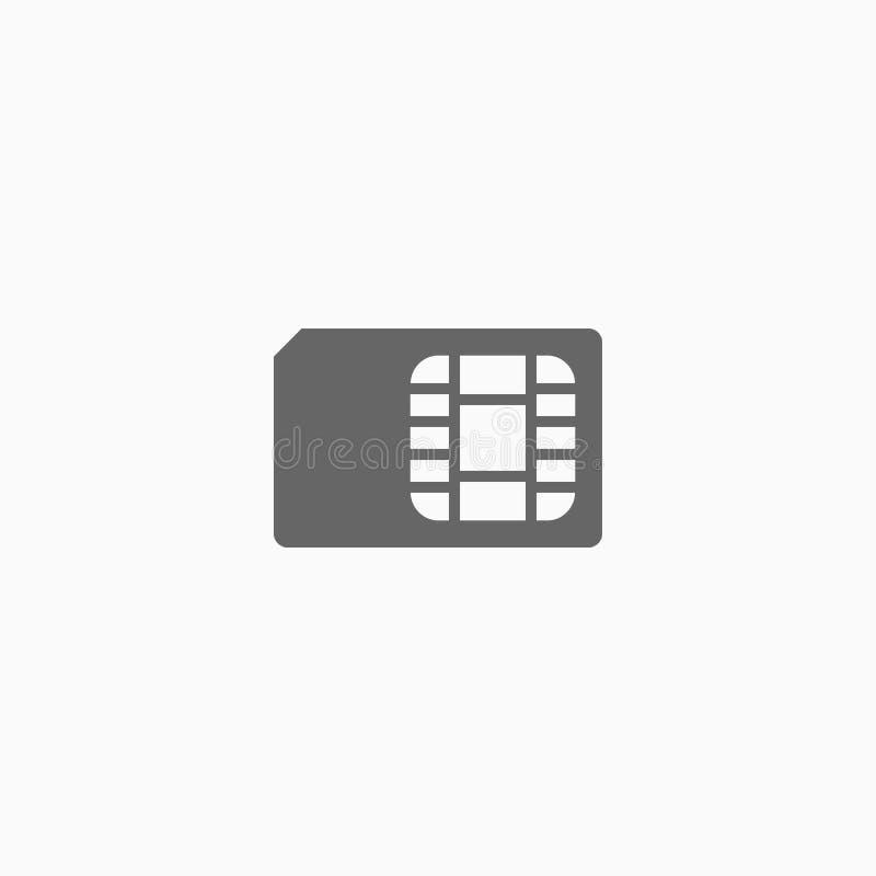 Ícone do cartão de Sim, vetor da memória ilustração stock