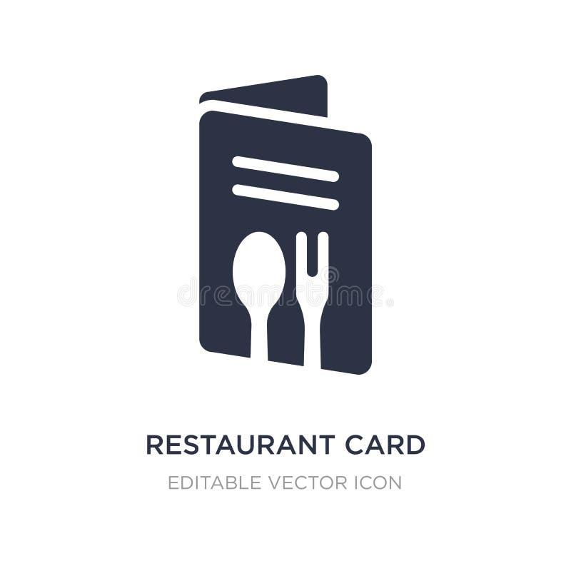 ícone do cartão do restaurante no fundo branco Ilustração simples do elemento do conceito do comércio ilustração royalty free