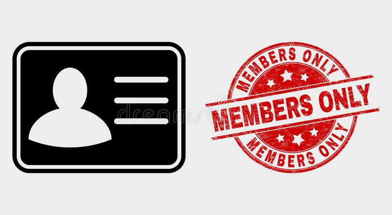 Ícone do cartão do usuário do vetor e filigrana dos membros da aflição somente ilustração stock