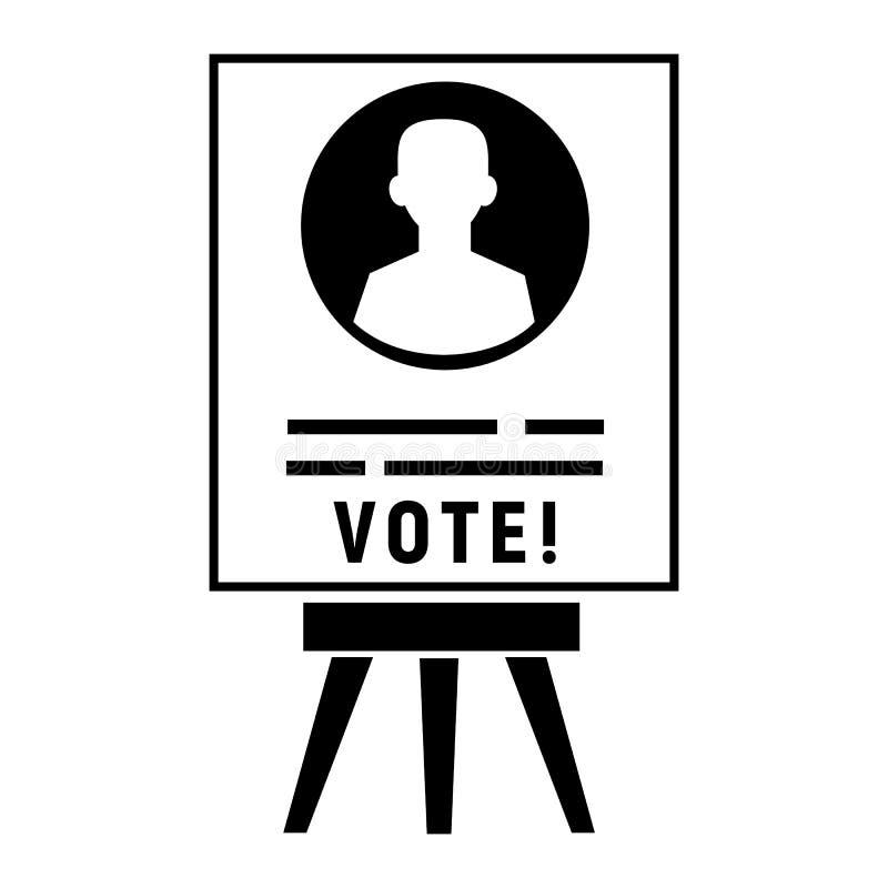 Ícone do cartaz do candidato do voto, estilo simples ilustração do vetor