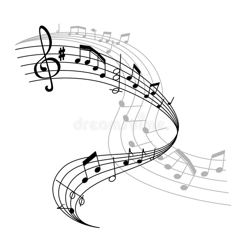 Ícone do cartaz da música do vetor ou do pessoal das notas ilustração royalty free