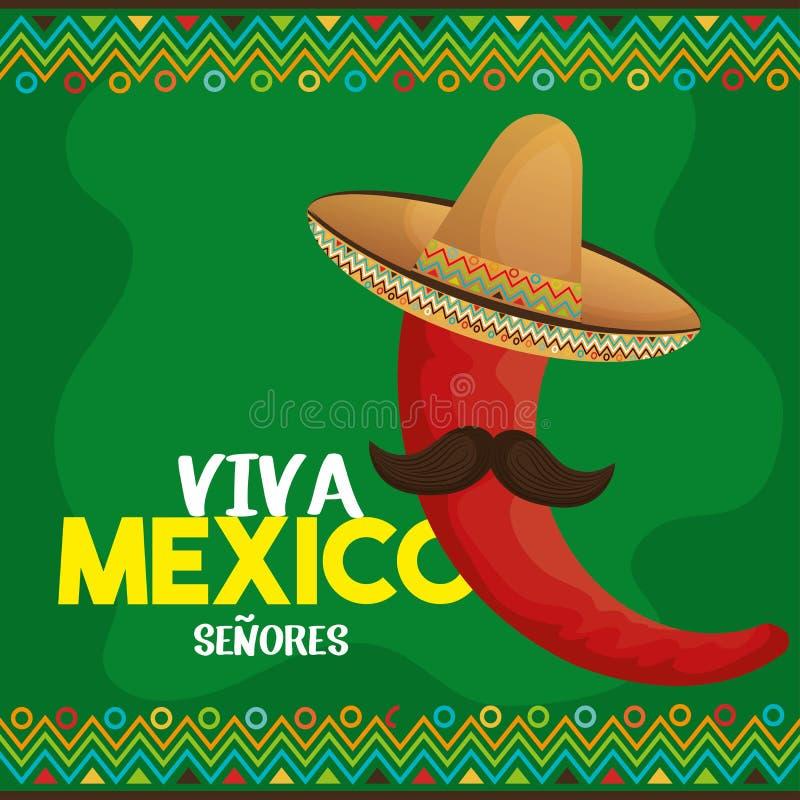 Ícone do cartaz de Viva México ilustração do vetor
