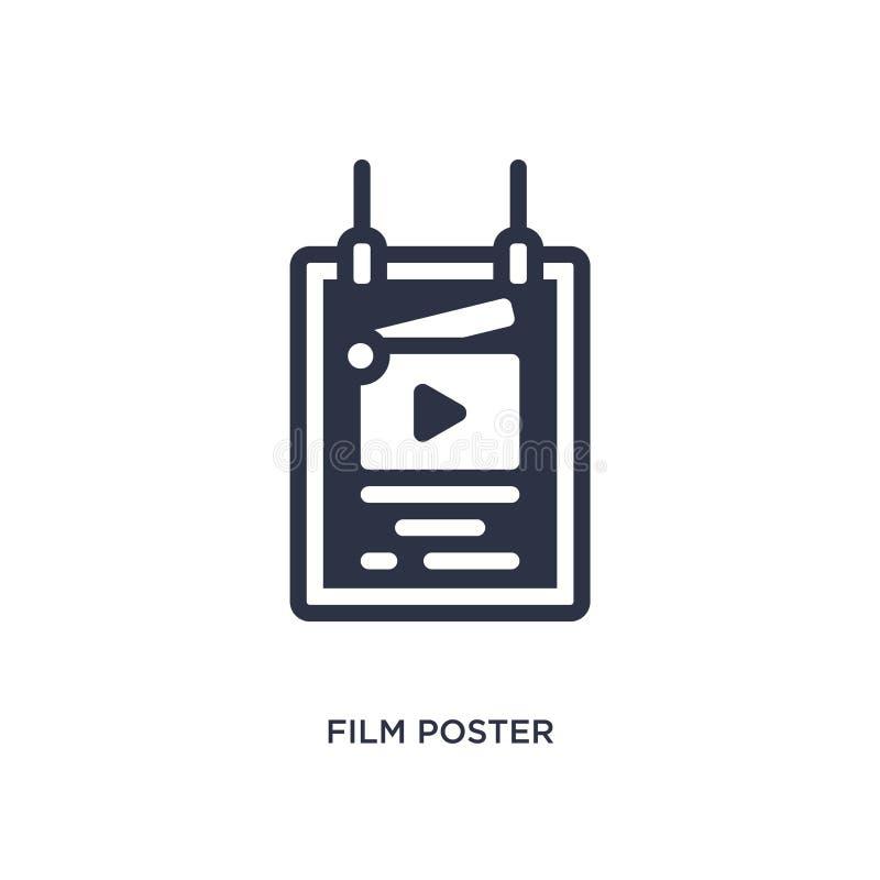 ícone do cartaz do filme no fundo branco Ilustração simples do elemento do conceito do cinema ilustração royalty free