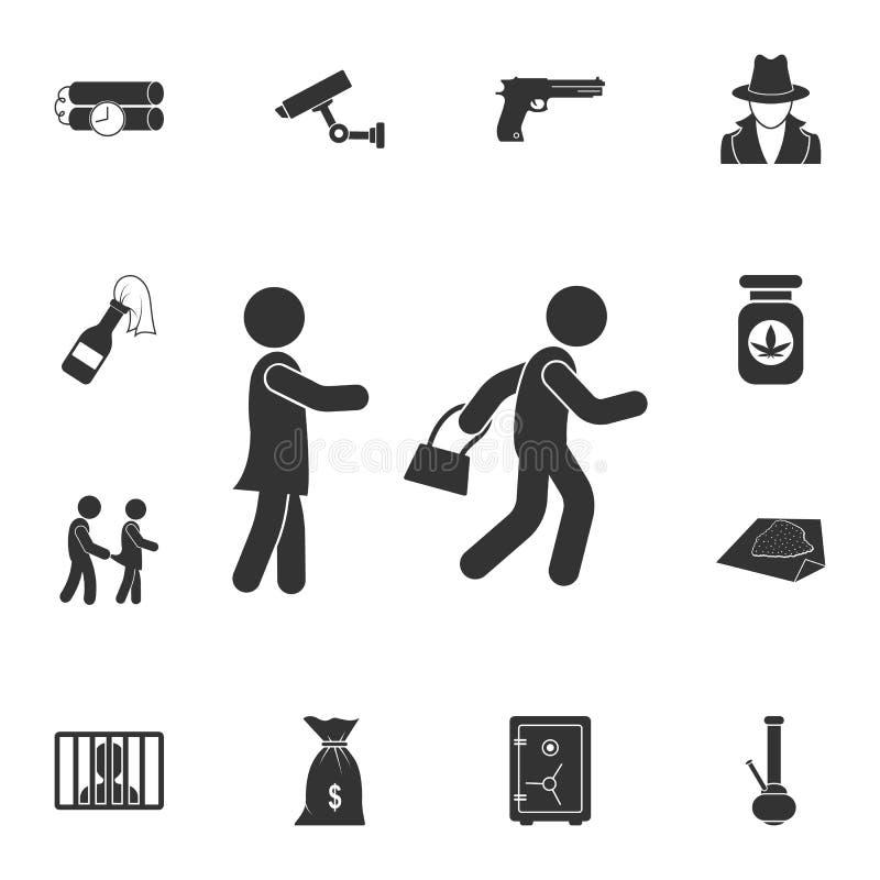 ícone do carteirista Ilustração simples do elemento Projeto do símbolo do carteirista do grupo da coleção do crime Pode ser usado ilustração royalty free