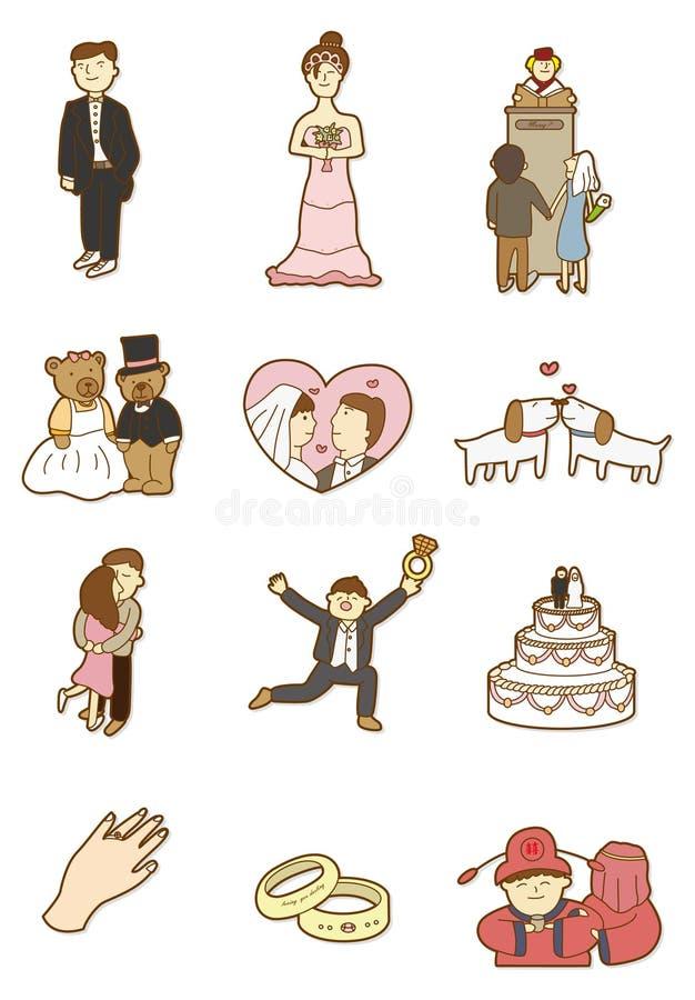 Ícone do casamento dos desenhos animados ilustração do vetor