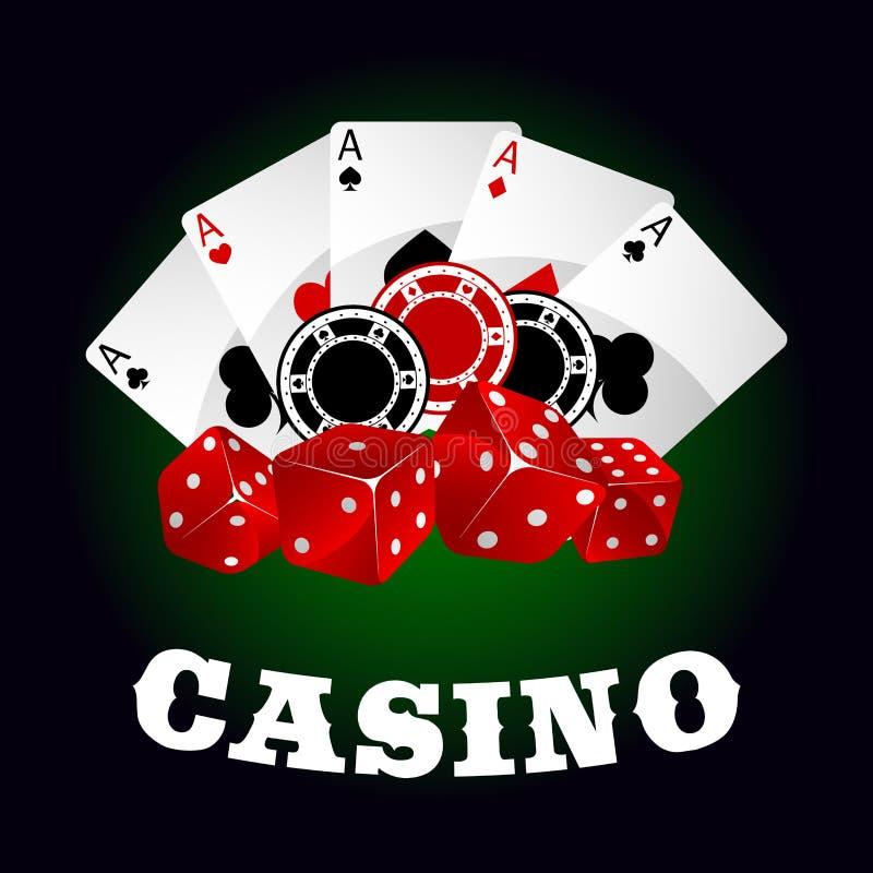 Ícone do casino com dados, microplaquetas e áss do pôquer ilustração stock