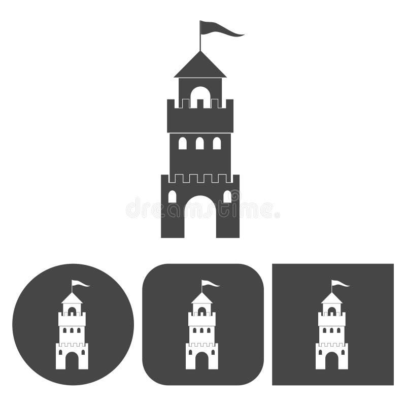 Ícone do castelo - ícones do vetor ajustados ilustração do vetor