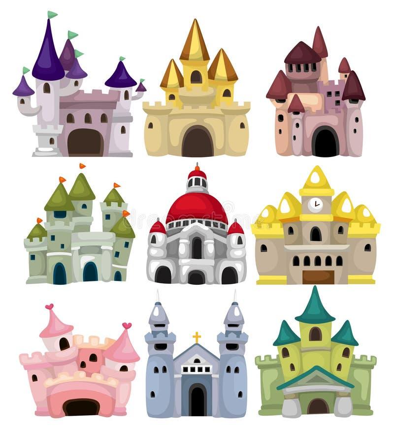 Ícone do castelo do conto de fadas dos desenhos animados ilustração do vetor
