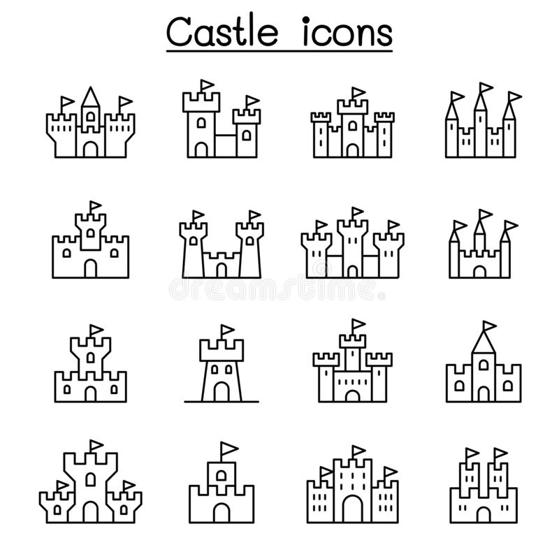Ícone do castelo & do palácio ajustado na linha estilo fina ilustração royalty free