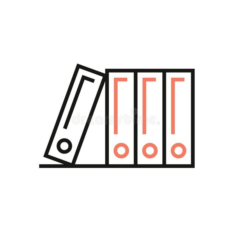 Ícone do catálogo no estilo linear Símbolo do dobrador do bloco com quatro ilustrações do dobrador ilustração royalty free