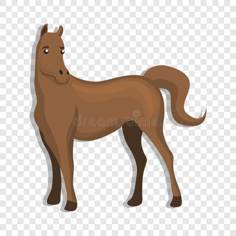 Ícone do cavalo de Brown, estilo dos desenhos animados ilustração royalty free