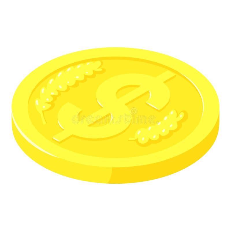 Ícone do centavo da moeda de ouro, estilo isométrico ilustração royalty free