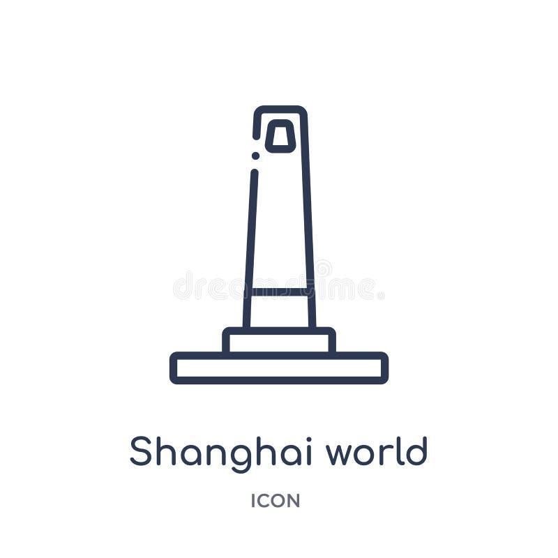 ícone do centro financeiro de mundo de shanghai da coleção do esboço dos monumentos Linha fina ícone do centro financeiro de mund ilustração royalty free