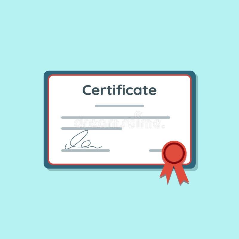 Ícone do certificado com fita vermelha Concessão da realização ou da concessão, conceitos do diploma Ilustração ilustração do vetor