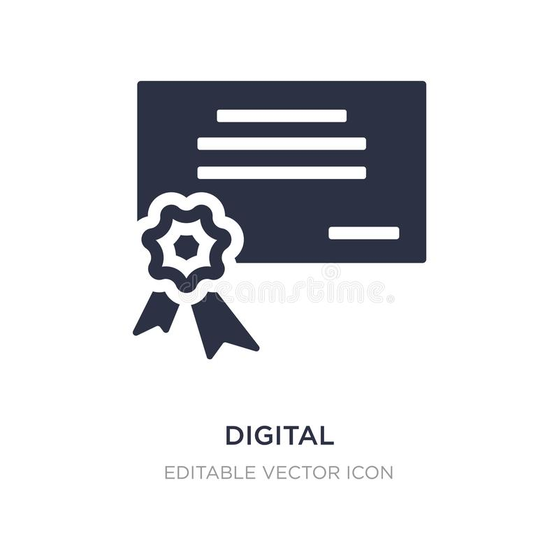 ícone do certificado digital no fundo branco Ilustração simples do elemento do conceito de UI ilustração royalty free