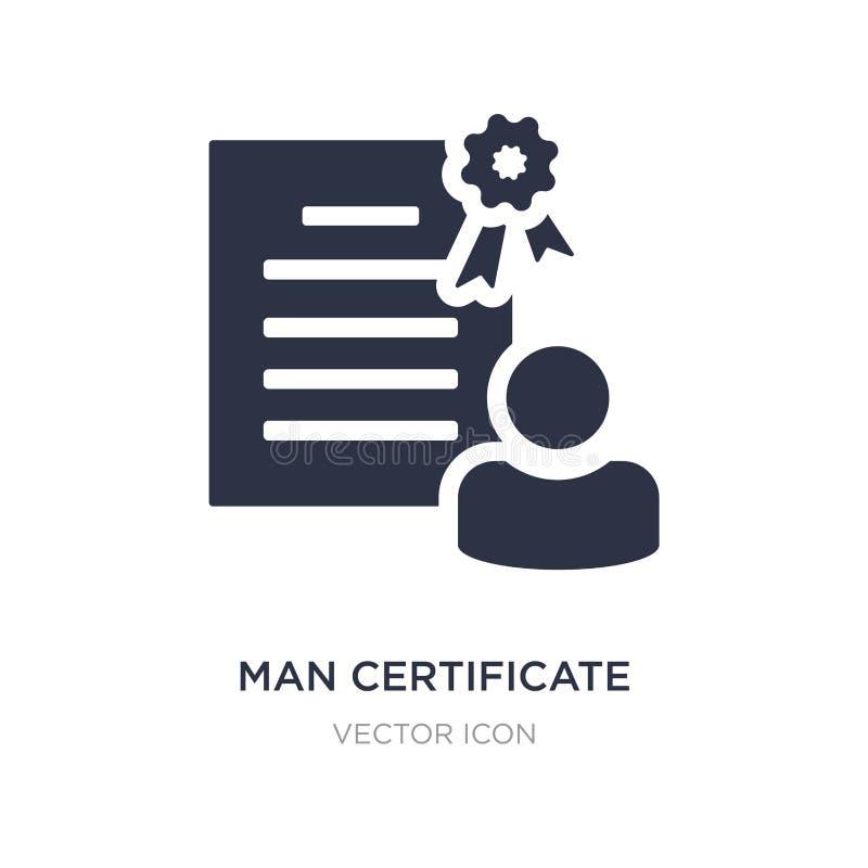 ícone do certificado do homem no fundo branco Ilustração simples do elemento do conceito de UI ilustração royalty free