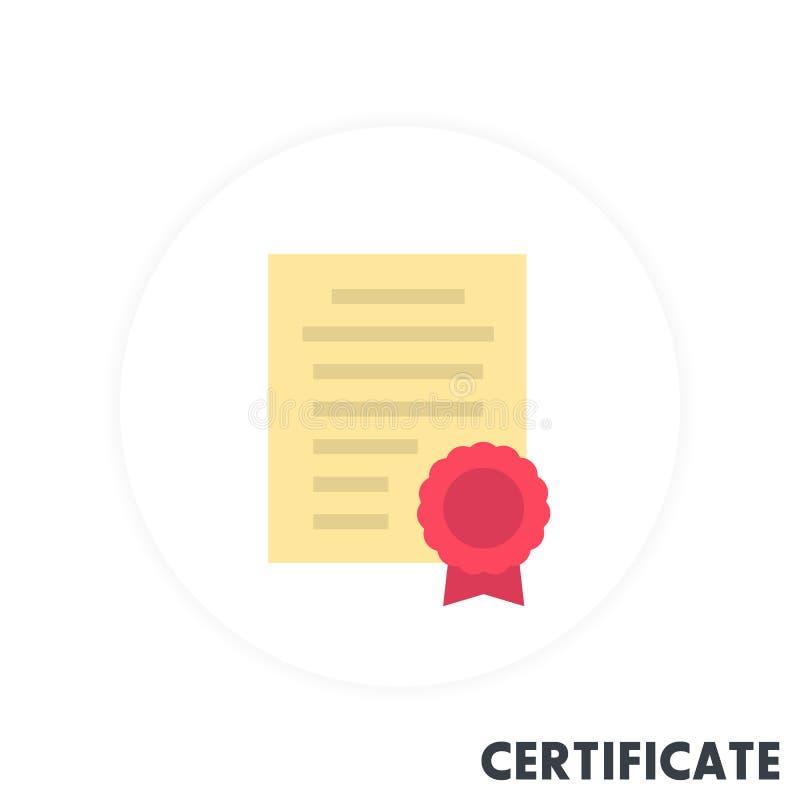 Ícone do certificado no estilo liso ilustração stock