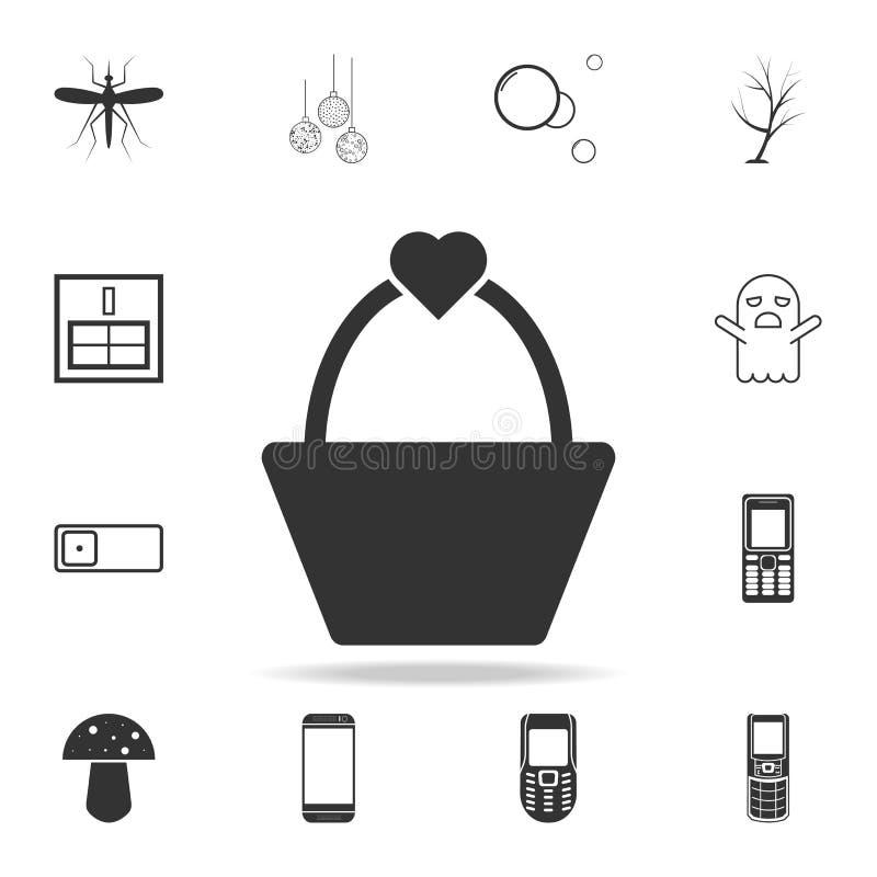 ícone do cesto de compras do coração Grupo detalhado de ícones e de sinais da Web Projeto gráfico superior Um dos ícones da coleç ilustração stock