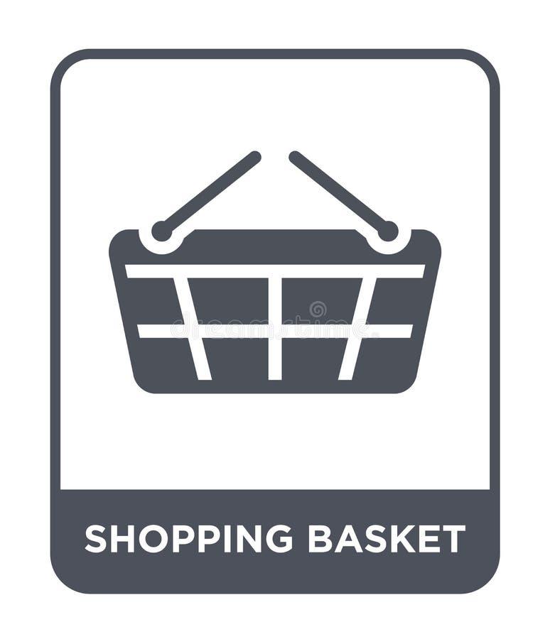 ícone do cesto de compras no estilo na moda do projeto Ícone do cesto de compras isolado no fundo branco ícone do vetor do cesto  ilustração do vetor