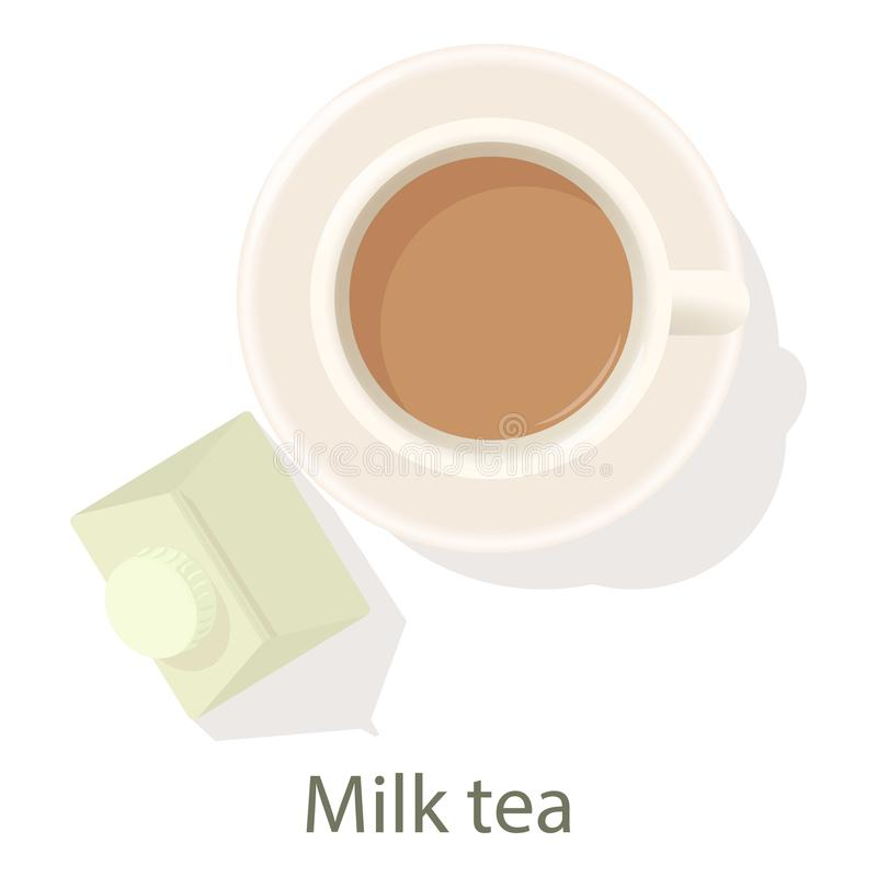 Ícone do chá do leite, estilo dos desenhos animados ilustração royalty free