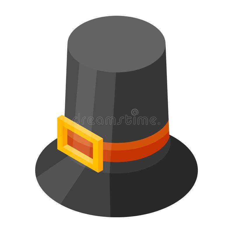 Ícone do chapéu da ação de graças, estilo isométrico ilustração stock