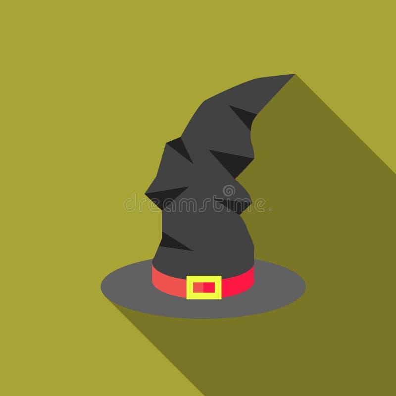Ícone do chapéu da bruxa, estilo liso ilustração royalty free