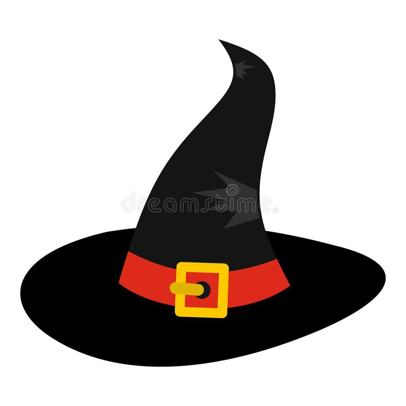 Ícone do chapéu da bruxa, estilo liso ilustração stock