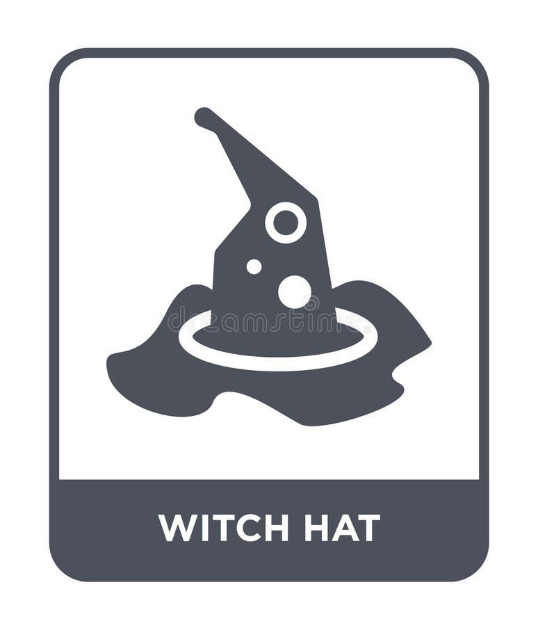 ícone do chapéu da bruxa no estilo na moda do projeto Ícone do chapéu da bruxa isolado no fundo branco plano simples e moderno do ilustração stock