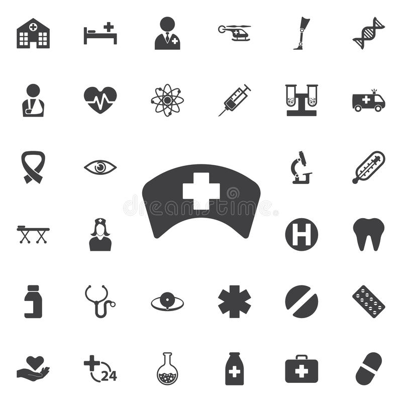 Ícone do chapéu da enfermeira ilustração do vetor