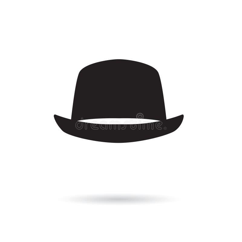 Ícone do chapéu de Bowler ilustração stock