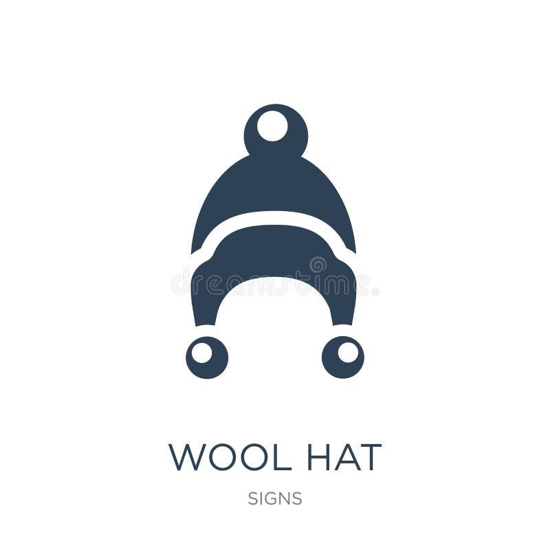 ícone do chapéu de lãs no estilo na moda do projeto ícone do chapéu de lãs isolado no fundo branco plano simples e moderno do íco ilustração stock
