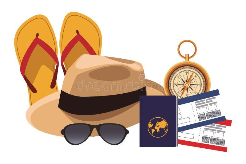 Ícone do chapéu de Panamá ilustração stock
