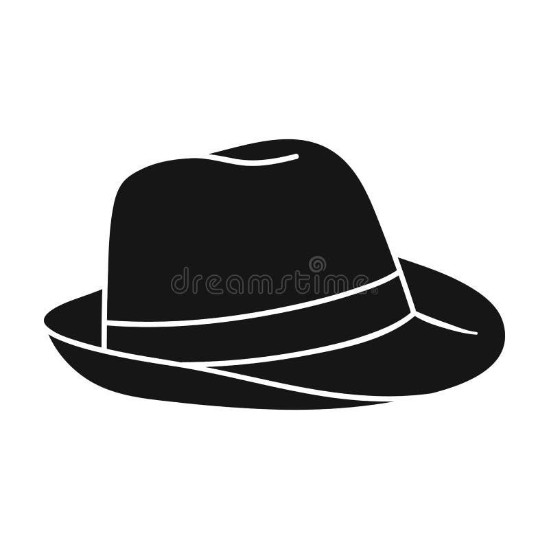 Ícone do chapéu de Panamá no estilo preto isolado no fundo branco Estoque surfando do símbolo ilustração stock